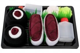 Sushi Socks Box by Rainbow Socks, 2 pairs set, burgundy socks tuna and tuna maki