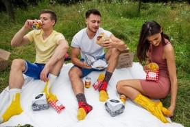 Meal Socks Box, Socks for men and women, burger socks box, fries socks box, beer socks in can