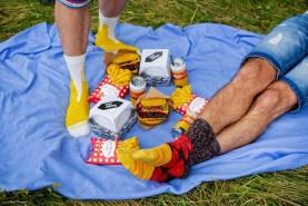 socks looking like real foods, meal socks box 5 pairs, burger socks, fries socks, beer socks