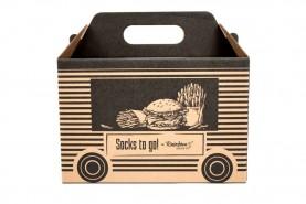 skarpetki na wynos 4 pary, kolorowe skarpety w kształcie burgera i frytek zapakowane w oryginalne pudełko