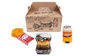 Meal Socks Box, 5 pairs colourful cotton socks, beer can socks, fries socks box, burger socks box