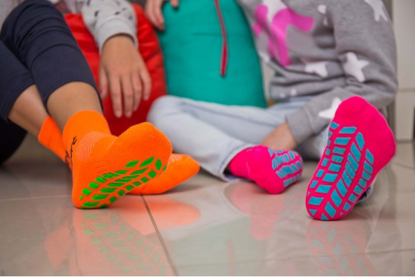 Children's Non Slip NEON Sport Socks with ABS Grips