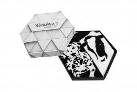 czarno-białe skarpetki w pudełku, motywy zwierzęce, zestaw 2-parowy