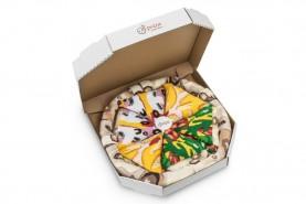 Pizza Skarpetki Mix w Pudełku: Capricciosa, Włoska, Hawajska, zestaw 4 par dla prawdziwego miłośnika pizzy