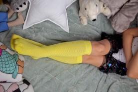 Kolorowe skarpetki dla dziecka, ażurowe podkolanówki