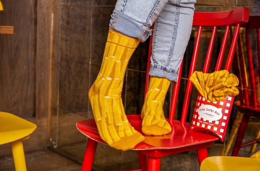 Delicious fries socks box looking like real fast food